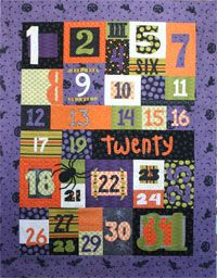 Creepy Countdown Wallhanging Pattern from Crazy Old Ladies at KayeWood.com. Instructions for the quilt pictured in 3 SIZES! Wallhanging uses 10-12 fat quarters plus borders and binding. http://www.kayewood.com/item/Creepy_Countdown_Wall_Hanging_Pattern/2873 $9.00