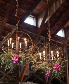 lights, the knot, wedding receptions, barn, weddings, light fixtur, lighting ideas, iron, flower