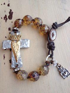 Bohemian Glam Rustic Czech/Pewter/Heart/Crown/Leather BoHo Bracelet