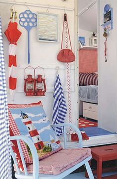 Red, white and blue caravan