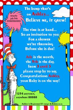 Dr. Seuss Baby Shower Invitation - Printable Baby Shower Invitation