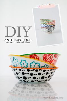 DIY Anthro-inspired atom bowls using DecoArt enamels ceramic bowls, atom, anthropologie diy, craft, diy art, diy tutorial, diy anthropologie bowls, art bowl, glass paint