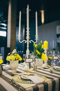 grey and yellow reception, photo by Kikitography http://ruffledblog.com/modern-turbine-hall-wedding #tablescape