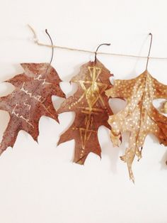 Gilded leaves garland bohemian wall decor by TheHipsterHousewife