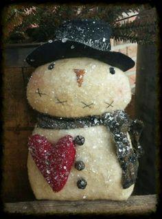 Primitive Snowman w/ Wool Heart