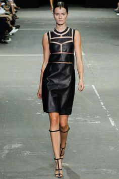 alexander wang #nyfw #ss2013 #rtw #lbd #leather dress with cut-outs and floating panels