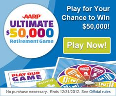 Enter for your chance to win $50,000 or instantly win a $50 Visa gift card per day from AARP® Ultimate $50,000 Retirement Game. | Bargain Hound Daily Deals