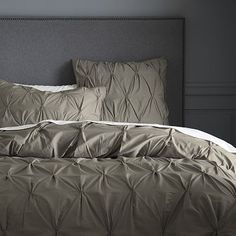 Organic Cotton Pintuck Duvet Cover + Shams - Soot #WilliamsSonoma