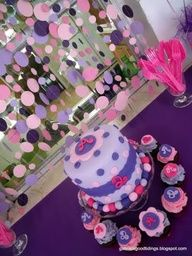 doc mcstuffins birthday cake - paper garlands, mcstuffin birthday, polka dots, birthday parties, doc mcstuffin, 2nd birthday, purple cakes, polka dot party, birthday cakes