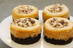 Peanut Butter Mini Cheesecakes with Chocolate Cookie Crust   Bake or Break