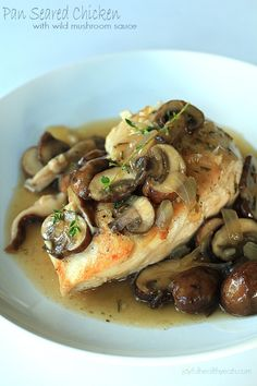 Pan Seared Chicken with a Wild Mushroom Thyme Sauce