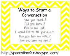 Pragmatic Skills Series: Topic Initiation-fun games and activities to work on starting a conversation. From Speech Time Fun! Pinned by SOS Inc. Resources @SOS Inc. Resources.