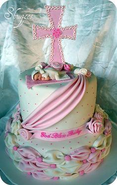 Pink & White Baptism Cake ~ adorable!