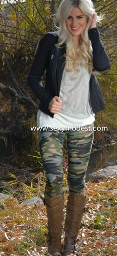 Lalalalove the camo leggings, boots, jacket - the whole look!!!