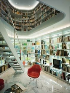 one day, interior design, houses, home libraries, library design, book, dream library, modern homes, contemporary style