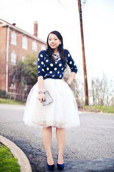 Big tulle skirt and polka dot sweater