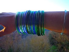Recycled glass bangles from wine bottles.  4/per order.  $30