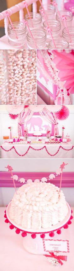 Pink Elephant themed baby shower full of ideas! Color could be switched to blue for a boy! By Kara Allen of Kara Party Ideas www.karaspartyideas.com #expertbloggertested #expertbloggerstrong