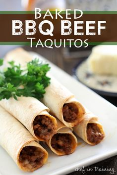 Taquitos are one of the easiest dinners to make. Especially baked taquitos. I was craving some taquitos the other day and asked my hubby if he had a preference as to what went in them. He instantly said BBQ and beef… a total guy response, right? :) I had never heard of a BBQ Beef …