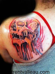 Melting skull tattoo
