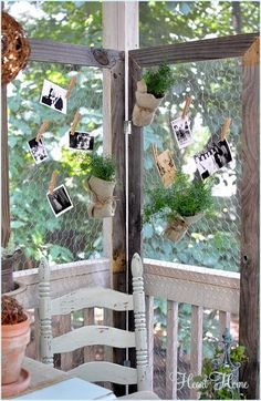 chicken wire screen-great for use at parties as a backdrop...hang party favors, photos, candy bags, tiny buckets with tea lights! #palletwood