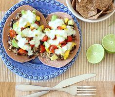 Black Bean & Quinoa Tostadas with Mango Salsa via @Molly Simon King Thyme for Health