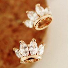 Golden Diamond Crown Earrings | LilyFair Jewelry