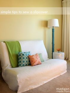 Tips for Sewing a Futon Slipcover ~ Madigan Made #sewing #tutorial #slipcover