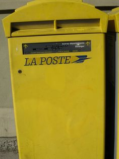 Mailboxes for mailing letters are always yellow in France