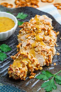 Honey Dijon Pretzel Chicken Recipe ~ Sweet and tangy honey dijon chicken crusted in a crunchy pretzel coating!