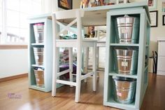 Detailed #plans to #DIY this #craft #table #blue #storage