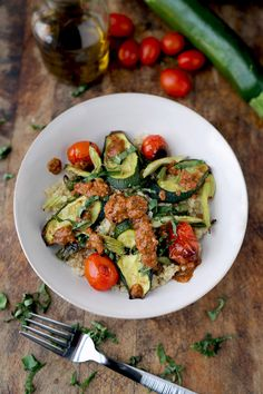 Quinoa salad and roasted vegetables with spicy olive and tomato sauce. #easy #recipe #gluten-free #vegan #vegetarian #healthy #recipes #dinner #diet #zuchhini  Read more at http://pickledplum.com/quinoa-salad-vegetables-recipe/