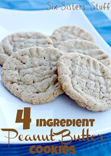 Easiest Peanut Butter Cookies EVER!!! 4 Ingredient Peanut Butter Cookies from Sixsistersstuff.com  #peanut butter #cookie #recipe