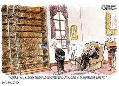 Kindle, Nook, Sony reader… I say, Hardwick, this sure is an impressive library. A cartoon by Jeffery Koterba, cartoonist, writer, and musician. ⇢ Credits and more info.