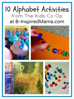 Trying to teach your toddler and preschooler the Alphabet? Try these 10 fun activities from creative mom bloggers of The Weekly Kids Co-Op at B-InspiredMama.com.