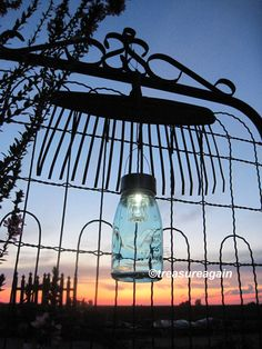 Rake Mason Jar Solar Light Outdoor Repurposed by treasureagain  http://etsy.me/1cLpV6K