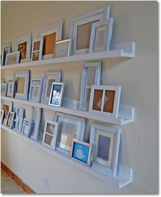 living rooms, photo walls, diy ledg, gallery walls, wall shelves, household tips, picture frames, ana white, diy projects
