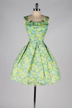 vintage 1950s dress . green yellow floral by millstreetvintage