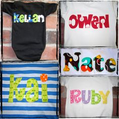 Cute applique shirts - kid's name