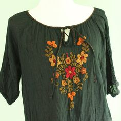 SALE Cotton Blouse with Embroidered Floral in  Black by oOlives, $35.00