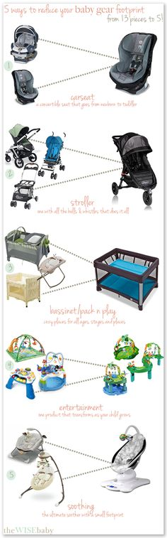 Five simple swaps you can make to reduce your baby gear - save space and money. I'm pinning this for all my preggo friends now... All wonderful tips (though I couldn't have done without the infant carrier)