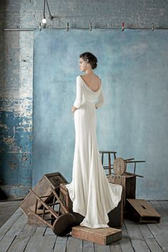 This cowl back dress is STUNNING. Dress: Dennis Basso // Featured: The Knot Blog
