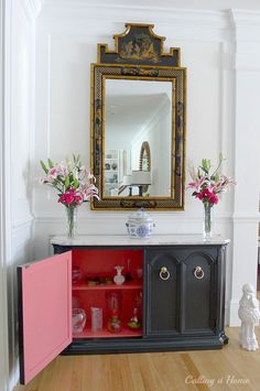 Add a pop of color to the inside of a cabinet