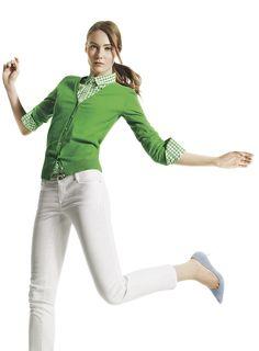 Joe Fresh™ Classic cardigan,          check shirt & color cropped jean