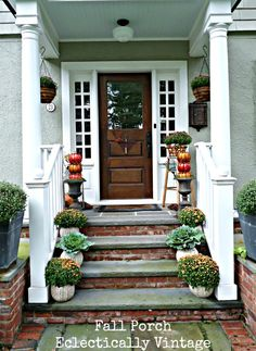 Fall Porch Decorating - tons of simple DIY ideas here!  eclecticallyvintage.com www.jbrothershi.com