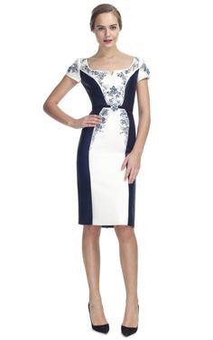 Carolina Herrera Mikado Short Sleeve Scoop Neck Dress