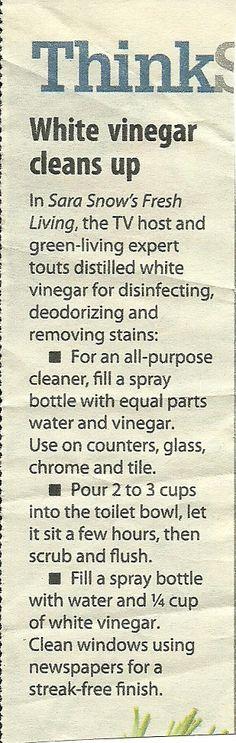 White vinegar cleans up