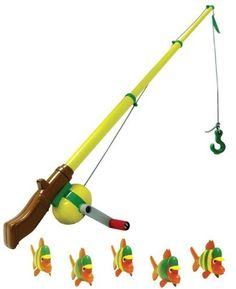 John Deere - Electronic Fishing Pole by Learning Curve. $19.99. From the Manufacturer                The 12 fishing rod easily extends up to 24 long. Magnets in fish attach to safe fishing hook. Electronic splashing and bubbling sounds. Preschool song. Requires two AAA batteries, included.                                    Product Description                John Deere - Electronic Fishing Pole