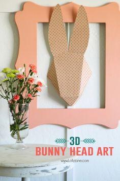 3D Bunny Head Paper Art. Cute!