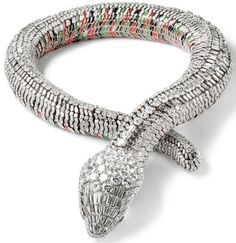 Serpent necklace, Cartier Paris, 1968. Platinum, yellow and white gold, 2,473 brilliant and baguette-cut diamonds, two pear-cut diamonds, green, red and black enamel. Made to order for  Maria Felix. N.Welsh, Collection Cartier © Cartier.